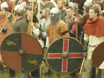 vikings, moesgaard, weapons, shields, swords, battle