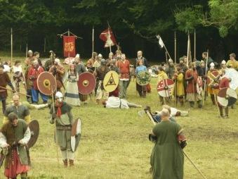 vikings, moesgaard, weapons, shields, swords, battle