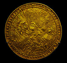 bracteate, Denmark, Funen, Odin, gold, jewellery, decoration, the National Museum, decoration, moesgaard museum, momu,